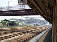 鳥栖駅のホームから見えるスタジアム